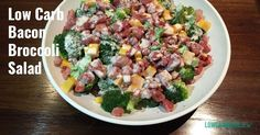 This Low Carb Bacon Broccoli Salad recipe is more-ish. It will be a hit for your next dinner or family lunch. Banting Recipes, Low Carb Recipes, Broccoli Cheddar, Broccoli Salad, Camping Meals, Serving Dishes, Salad Recipes, Potato Salad, Bacon