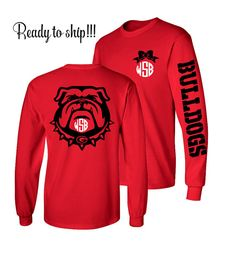1 Monogrammed Shirt Long Sleeve Georgia by CottageatRusticLane Cheerleading Shirts, Cheer Shirts, Team Shirts, Volleyball Memes, Volleyball Ideas, School Spirit Wear, School Spirit Shirts, School Shirts, Teacher Shirts