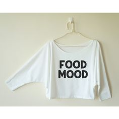 Food Mood Shirt Funny Hipster Tumblr Shirt Funny Quote Tee Shirt Women... ($13) ❤ liked on Polyvore featuring tops, t-shirts, grey, women's clothing, off the shoulder shirts, dolman shirt, t shirt, grey shirt and off the shoulder tops