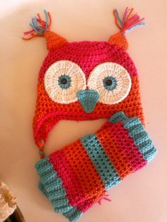 This owl hat and leg warmers really stands out. Bright pink, orange and turqoise make a great combination. I make these any size from newborn to