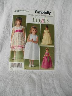 99abeb5e785 Simplicity 4647 Princess Dress Pattern Pattern - Princess Costume - Sizes AA  3-4-5-6 - UNCUT 2005 -