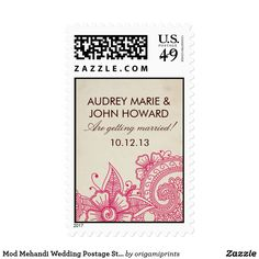 Mod Mehandi Wedding Postage Stamps Elegant henna inspired wedding design by Shelby Allison. Clink the Mod Mehandi Collection link to view matching items including invitations, rsvp cards, stickers and more.