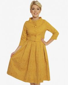 'Marianne' Mustard Swing Dress and Jacket Twin Set Vintage Inspired Fashion, Vintage Inspired Dresses, Vintage Style Dresses, Unique Dresses, 1950s Fashion, Vintage Fashion, Flare Skirt, Classy Outfits, Swing Dress
