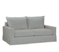 "PB Comfort Square Arm Slipcovered Loveseat 62"", Knife Edge Polyester Wrapped Cushions, Sateen Ticking Stripe Indigo"