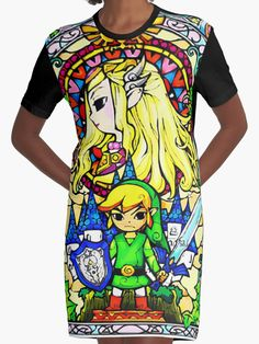 """Zelda Wind Waker Stained Glass "" Graphic T-Shirt Dresses by Erik Johnson 