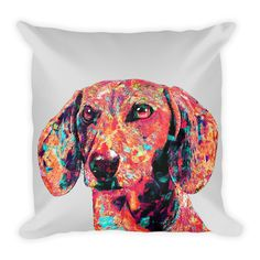 Dachshund Colorful Painting Decorative Pillow