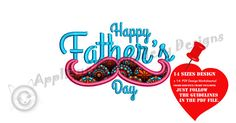 Happy Father's Day  Embroidery Applique Design Dad