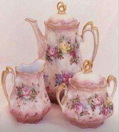 Tea time,sorry l am late,☆♡☆. Antique China, Vintage China, Vintage Tea, Tea Cup Saucer, Tea Cups, Shabby, Tea Pot Set, Teapots And Cups, China Tea Sets