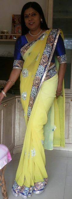 Shaded saree with silk blouse