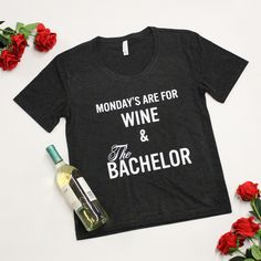 Mondays Are For Wine & The Bachelor Graphic Tee Heather Black - The Pink Lily