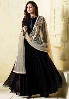 black salwar kameez designs for shah peoples - Sari Info Indian Anarkali Dresses, Indian Fashion Dresses, Designer Anarkali Dresses, Designer Party Wear Dresses, Indian Bridal Outfits, Indian Bridal Fashion, Kurti Designs Party Wear, Dress Indian Style, Pakistani Bridal Dresses