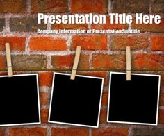 Free Peg Brick PowerPoint template is another original slide design with a bricks wall in the slide template and photos pinned with pegs in the slide design #peg #bricks #powerpoint #photos