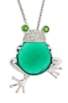 Sterling Silver Multi Gemstone Frog Pendant Necklace by Dazzling Jewelry Treasures on @HauteLook