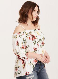 Floral Print Sandwash Knit Off Shoulder Tie Sleeve Top/ Plus Size Clothing / TORRID