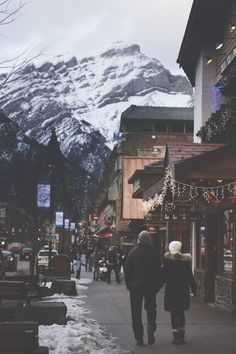 Banff, Alberta. Canada. This reminds me of Lake Placid with the snow and quaint shops.