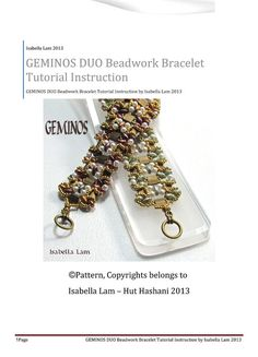 GEMINOS DUO Tila, Pearls and SuperDuo Beadwork Bracelet tutorial instructions for personal use only