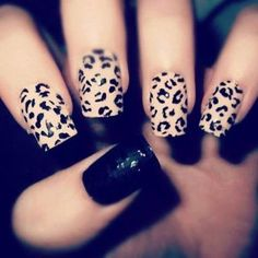 leopard print black & nude mani  #nails #nailart #blackpolish - bellashoot.com