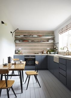 Blue kitchen ideas: powder blue, navy blue & dark kitchen in Navy Kitchen, Kitchen Tiles, Rustic Kitchen, Kitchen Shelves, Kitchen Board, Kitchen Modern, Kitchen Cabinets, Joanna Gaines, Ikea Hacks