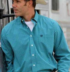 Cinch Men/'s Teal Square Geometric Print Button Up Western Shirt MTW1104546