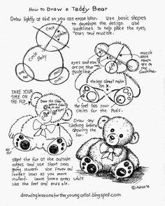 How to Draw Worksheets for The Young Artist: How to Draw A Teddy Bear, Free Printable Worksheet