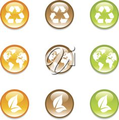 iCLIPART - Set of recycling earth icons in 3 colors