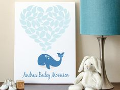 Baby Shower Guest Book Alternative Whale Baby by MadeForKeepsShop