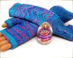 Stretch Cotton Fingerless Gloves HUG GLOVES by JanetLongArts, $40.00
