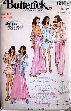 "UNCUT Vintage 70s BETSEY JOHNSON Butterick Pattern 6908  Skirt Top, Halter Flared Slacks Siize 12 Bust: 34""-Had to have it!!"
