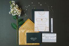 Gatsby inspired invitations // photo by @Tara Kneiser http://ruffledblog.com/1920s-inspired-knoxville-wedding #invitations #gatsby #weddinginvitations