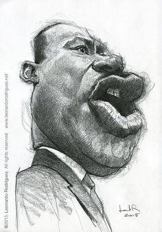El premio Nobel de la Paz, Martin Luther King, caricaturizado por el artista Leonardo Rodríguez.   ...