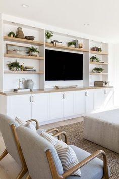 Built In Shelves Living Room, Living Room Wall Units, Home Living Room, Living Room Designs, Living Room Decor, Built In Tv Wall Unit, Wall Units For Tv, Build In Shelves, Tv Wall With Shelves