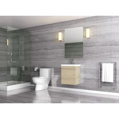 Orren Ellis Compact, functional, stylish. This feature rich wall-mount vanity makes the most of a tight spot. Integrated sink allows a compact profile while maintaining a good size sink. Turkish ceramic ensures a smooth low maintenance surface. Base Finish: Rustic Oak Tiny House Bathroom, Single Bathroom Vanity, Modern Bathroom Design, Bathroom Interior Design, White Bathroom, Ikea Bathroom, Interior Ideas, Bathroom Plants, Master Bathroom