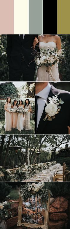 This modern romantic take on neutrals will have your guests talking about your wedding color scheme for years to come. Take your simple black and ivory color palette from stark to soft with a subtle dusty blush, a bit of sage greenery and gold accents
