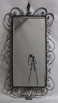 Large Beveled Mirror in a Wrought-Iron Frame - France, 1940's 2