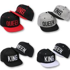 b23a8b80d24 King  amp  Queen 4 Colors Baseball Caps Rap Cap