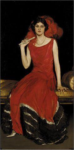 Lady in Red-Portret van Constance Bridges (Ierse schilder-19de eeuw) Sir John Lavery