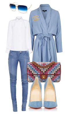 Untitled #252 by scannedbyaaron ❤ liked on Polyvore featuring Balmain, Topshop, Chanel, Andrew Gn, Christian Louboutin and AQS by Aquaswiss