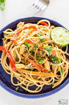 Spicy and sweet Vegetarian Thai Peanut Noodles are packed with delicious flavors! Find the recipe on www.cookwithmanali.com