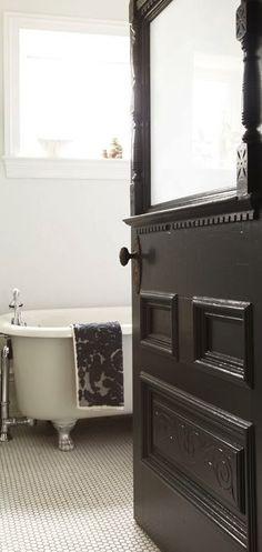 vintage Bathroom Doors, White Bathroom, Modern Bathroom, Bathroom Interior, Charcoal Bathroom, White Cottage, Cottage Bath, White Farmhouse, Black Doors