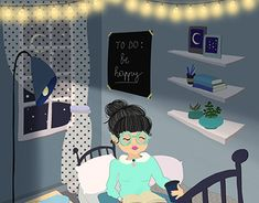 A self initiated illustration of a dreamy girl reading a book in her lovely blue room. Wacom Intuos, Girl Reading, Jobs Apps, Blue Rooms, Online Portfolio, New Work, Behance, Gallery, Creative
