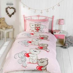 Best Friends duvet cover for young girls. Pink single bedding with teddy bears & bunny rabbits hugging red hearts. Teen Girl Bedding, Pink Bedroom For Girls, Girls Bedding Sets, Pink Bedrooms, Baby Nursery Bedding, Kids Bedroom, Cot Bed Duvet Cover, Single Duvet Cover, Childrens Beds