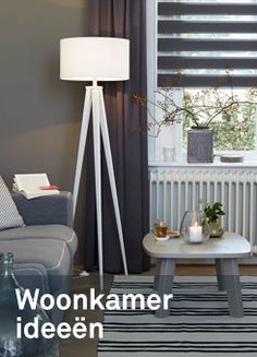 woonkamer ideeen Blinds And Curtains Living Room, Tripod Lamp, Interior Inspiration, Home Decor, Home, Curtains, Sheer Curtains, Homes, Decoration Home