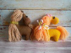 Toy Horse Orange and Brown Knitted Amigurumi Baby Girl Nursery