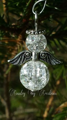 set of 6 cracked glass angel ornaments by CountryIvyCreations Angel Ornaments, Beaded Ornaments, Marble Jewelry, Beaded Jewelry, Wire Crafts, Holiday Crafts, Cracked Marbles, Christmas Angels, Christmas Ornaments