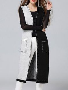 Black Casual Color-block Sleeveless Vests And Gilet