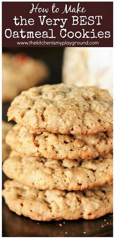How to Make the BEST Oatmeal Cookies Bringing together the wonderful elements of great thickness soft and chewy middles great texture and fantastic flavor. Whip up a batch today Healthy Oatmeal Cookies, Oatmeal Cookie Recipes, Oatmeal Chocolate Chip Cookies, Oatmeal Cookies With Applesauce, Soft Chewy Oatmeal Cookies, Cookies With Oatmeal, 2 Cookie Recipe, Quick Oat Cookies, Crack Crackers
