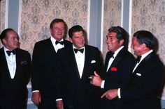 """One of the most iconic photographs ever taken/ Bob Hope, John Wayne, Ronald Reagan, Dean Martin, and Frank Sinatra (circa only one missing is Sammy Davis Jr . then you would have """"The Rat Pack"""" ** Hollywood Stars, Classic Hollywood, Old Hollywood, Dean Martin, John Wayne, Joey Bishop, University Of Michigan, Jimi Hendrix, Zell Am See"""