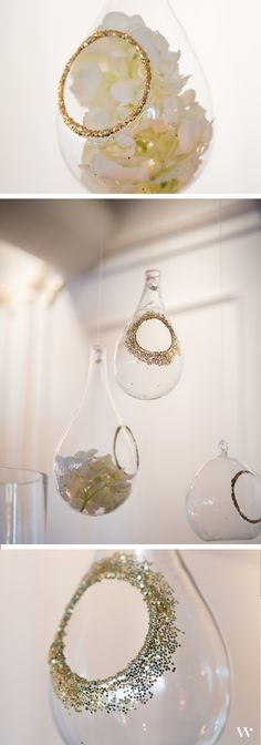 Add a hint of shimmer with a little DIY glitter around the centers of our Blown Glass Teardrop Vases