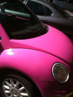 Pinky and sparkly VW Bug...only I also want purple polka dots on it:)