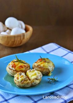 Champiñones rellenos de beicon y queso sin lactosa - La Rosa dulce Pasta, Sin Gluten, Queso, Baked Potato, Potatoes, Baking, Ethnic Recipes, Html, Food
